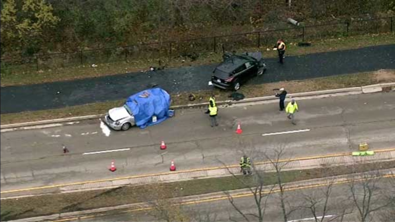 A woman was killed in a crash involving two vehicles in west suburban Oak Brook.