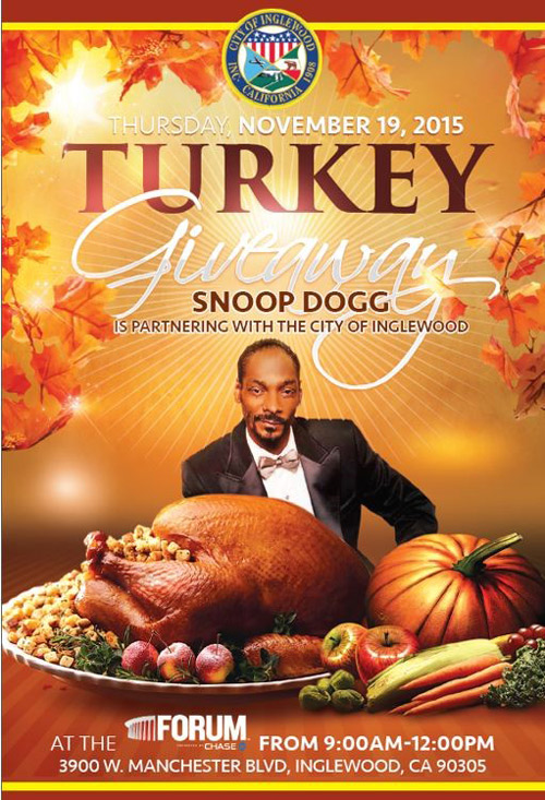 A poster for the Thanksgiving Turkey Giveaway at The Forum is shown above.