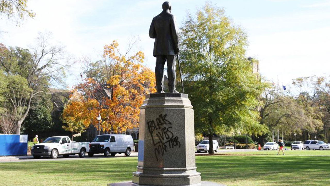 The James B. Duke statue in front of Duke University's Chapel was vandalized Friday