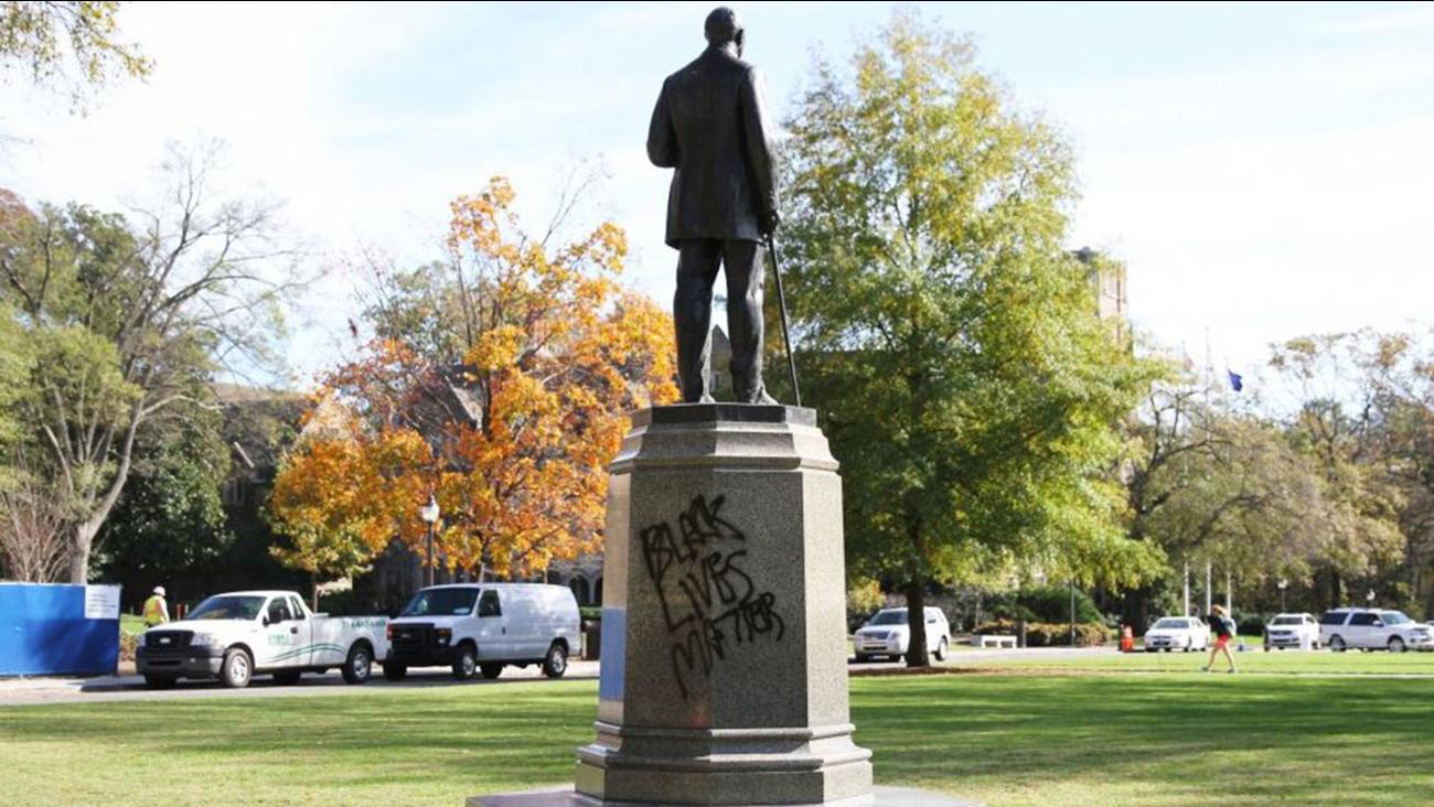 The James B. Duke statue in front of Duke University's Chapel was vandalized Friday
