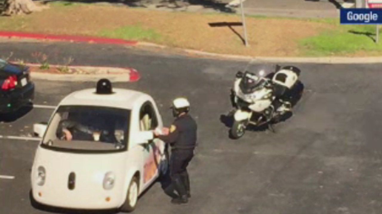 A cop with the Mountain View Police Department pulled over a Google self-driving car for going too slow on Thursday, November 12, 2015.