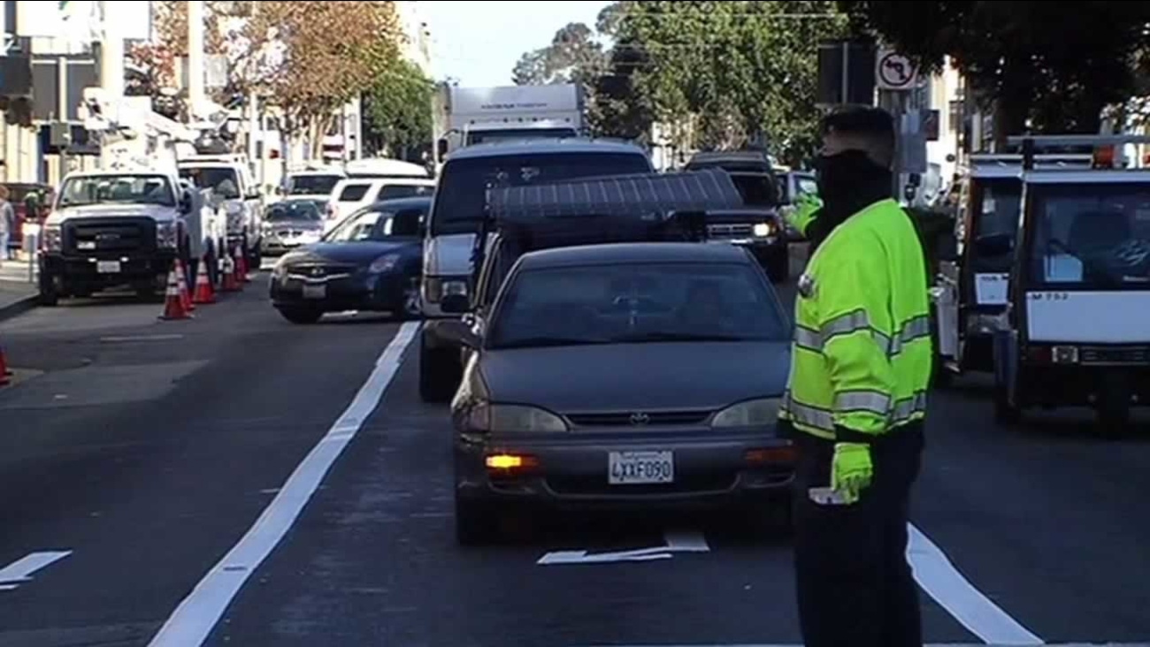 There are 57 workers on Van Ness in San Francisco trying to keep traffic moving on Friday, November 13, 2015.