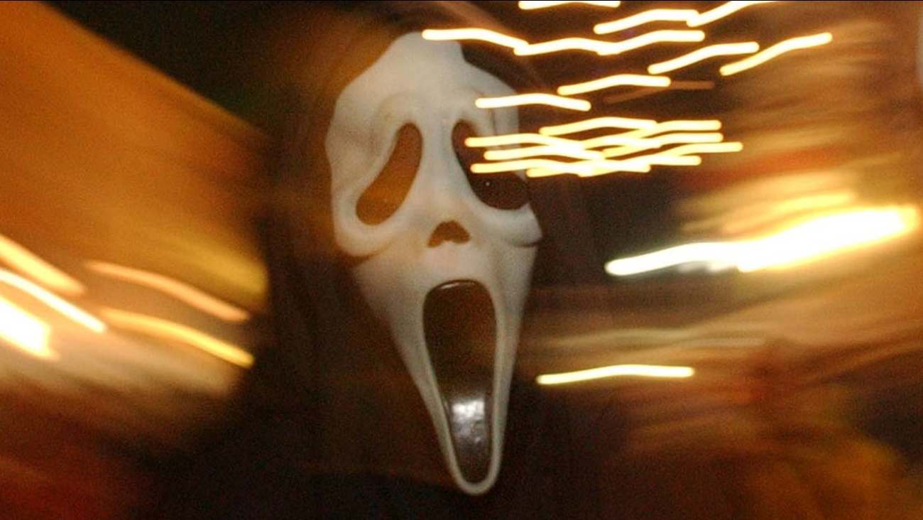 "A ""Scream"" mask seen in this Friday, Oct. 29, 2004, photo"