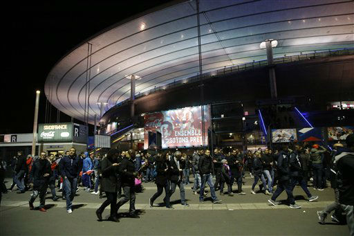 <div class='meta'><div class='origin-logo' data-origin='none'></div><span class='caption-text' data-credit='AP Photo / Michel Euler'>People leave the Stade de France stadium after the international friendly soccer France against Germany, Friday, Nov. 13, 2015 in Saint Denis, outside Paris.</span></div>