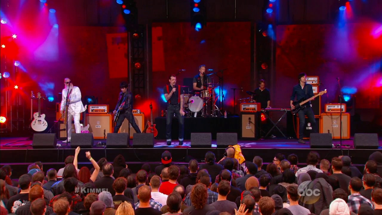 "Palm Desert, California-based band Eagles of Death Metal performs on ""Jimmy Kimmel Live!"" on Oct. 5, 2015."