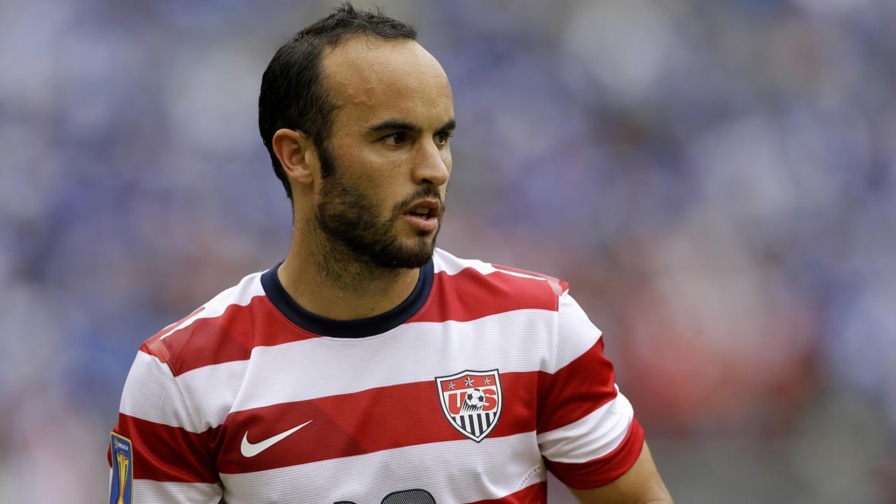 United States' Landon Donovan looks on during the CONCACAF Gold Cup soccer tournament against El Salvador, July 21, 2013, in Baltimore. (AP Photo/Patrick Semansky)
