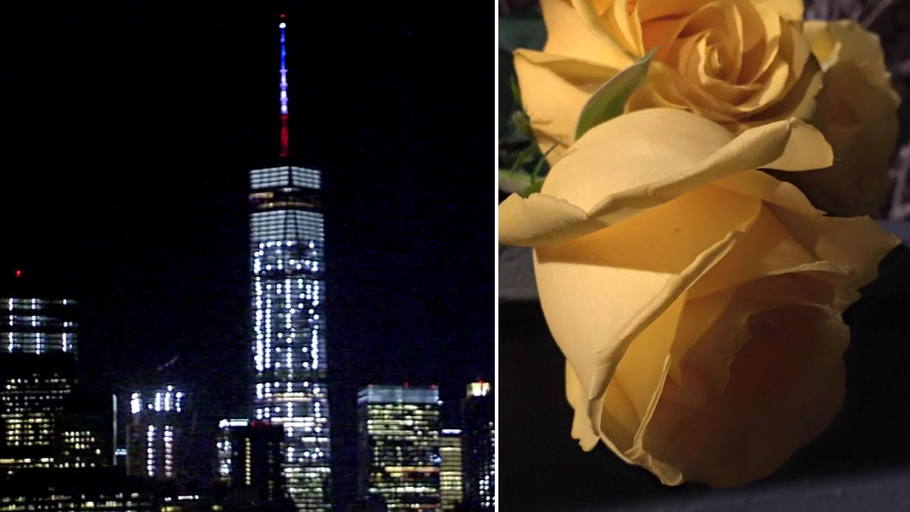 New York City Pays Tribute To Paris Attack Victims With World Trade Center  Lighting, Flowers, French Flag Lowering | Abc7ny.com
