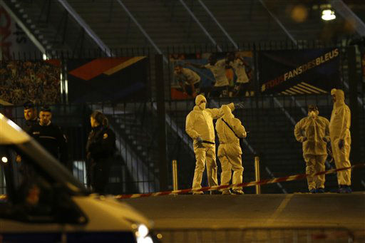 <div class='meta'><div class='origin-logo' data-origin='none'></div><span class='caption-text' data-credit='AP Photo / Michel Euler'>Investigating police officers are pictured outside the Stade de France stadium after an international friendly soccer match France against Germany.</span></div>