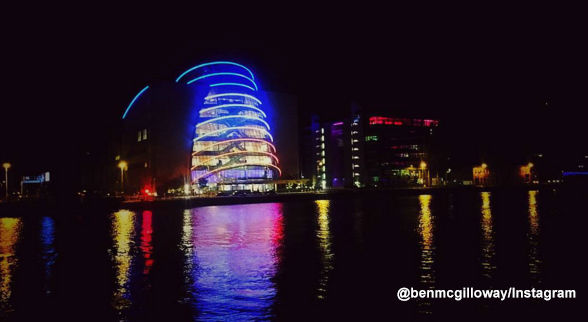 <div class='meta'><div class='origin-logo' data-origin='none'></div><span class='caption-text' data-credit=''>Convention Centre Dublin is lit blue, white and red.</span></div>