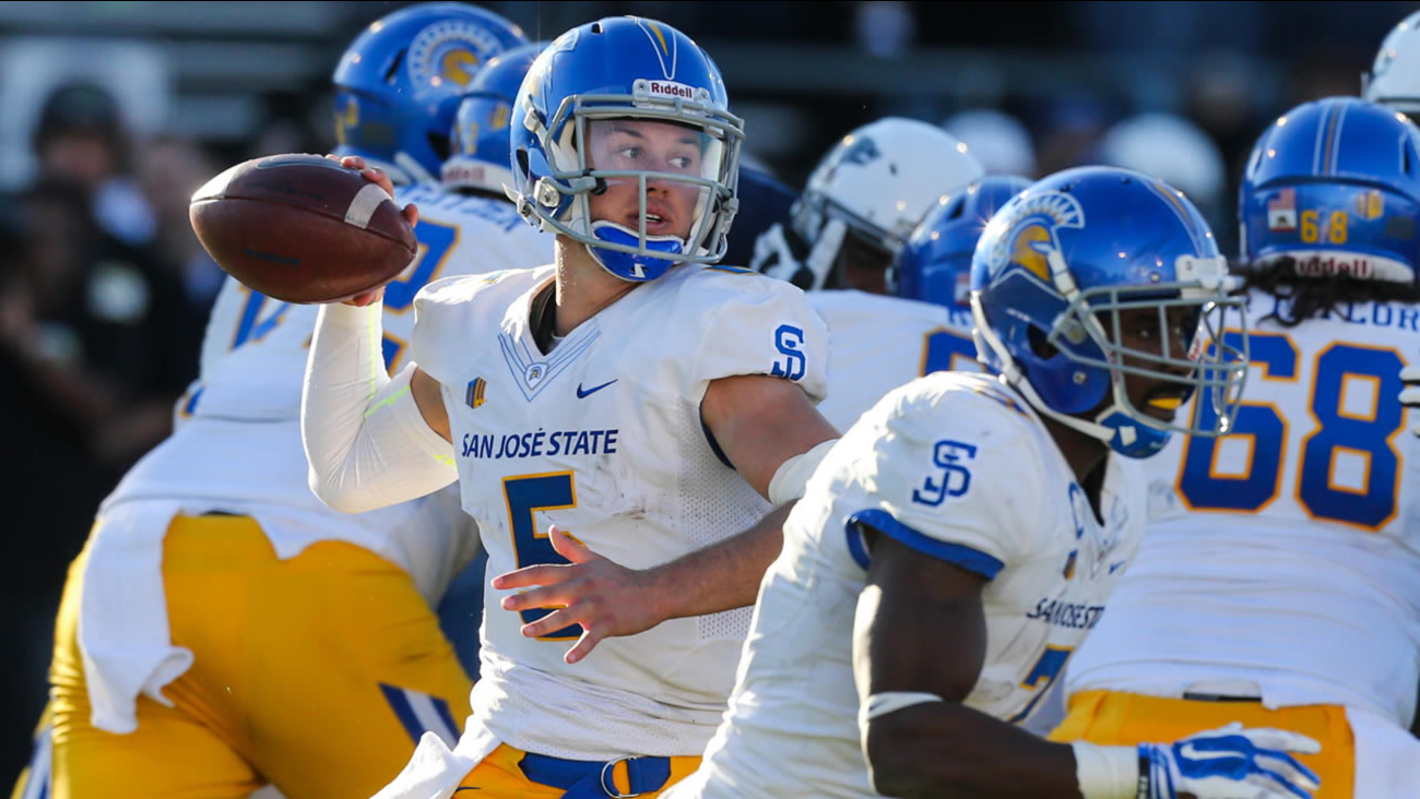 San Jose State's Kenny Potter (5) prepares to pass in an NCAA college football game against Nevada in Reno, Nev., Saturday, Nov. 14, 2015.