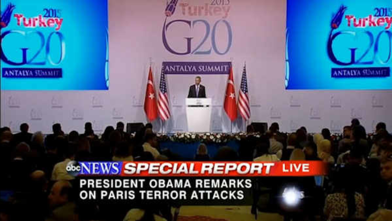 President Barack Obama speaks during a news conference following the G-20 Summit in Antalya, Turkey, Monday, Nov. 16, 2015.