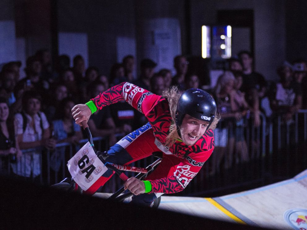Winner Dave Rodebaugh rounds a corner during competition at Red Bull MiniDrome in Brooklyn, N.Y., June 26, 2014.