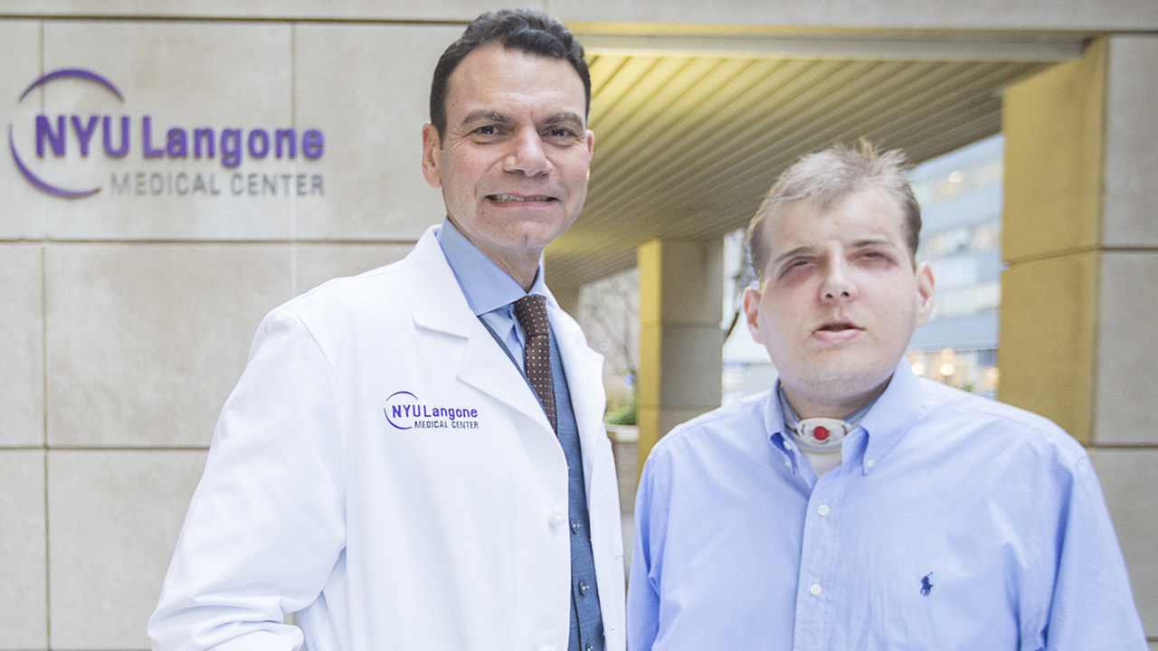 Dr. Eduardo D. Rodriguez, pictured with his face transplant patient Patrick Hardison at NYU Langone on November 12, 2015 (PRNewsFoto/NYU Langone Medical Center)