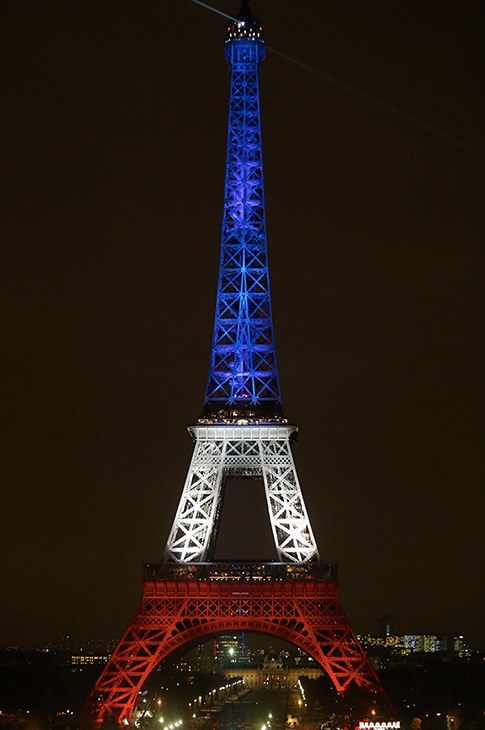 <div class='meta'><div class='origin-logo' data-origin='none'></div><span class='caption-text' data-credit='Xavier Laine/Getty Images'>The Eiffel Tower turns blue, white and red in memory of the victims of Friday's terrorist attacks, on November 16, 2015 in Paris, France.</span></div>