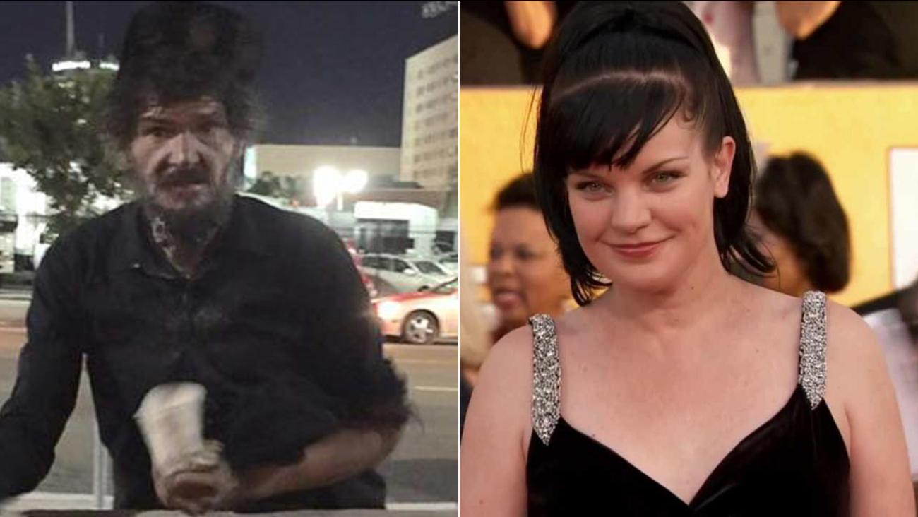 Assault suspect David Merck, 45, is shown alongside an image of actress Pauley Perrette.