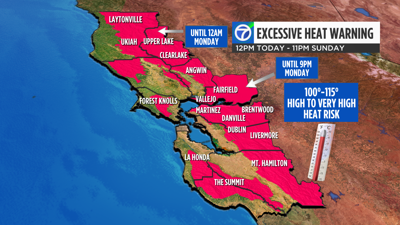 An excessive heat warning goes into effect at noon Friday for much of the inland Bay Area.