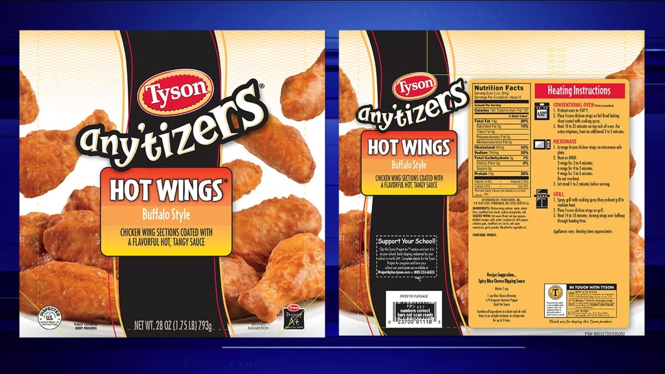 Tyson Anytizers Fully Cooked Hot Wings Recall