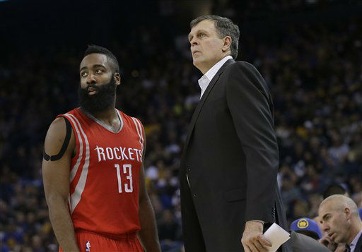 <div class='meta'><div class='origin-logo' data-origin='none'></div><span class='caption-text' data-credit='AP Photo/ Jeff Chiu'>Houston Rockets' James Harden (13) and head coach Kevin McHale talk during a game against the Golden State Warriors in Oakland, Calif., Jan. 21, 2015.</span></div>