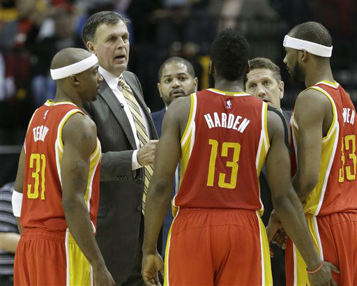 <div class='meta'><div class='origin-logo' data-origin='none'></div><span class='caption-text' data-credit='AP Photo/ Pat Sullivan'>Houston Rockets coach Kevin McHale, second from left, talks with Jason Terry (31), James Harden (13) and Corey Brewer (33), Jan. 15, 2015.</span></div>