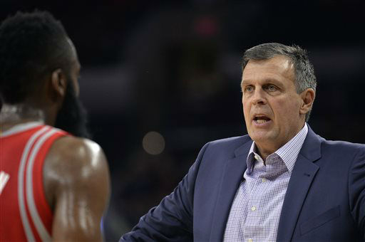 "<div class=""meta image-caption""><div class=""origin-logo origin-image none""><span>none</span></div><span class=""caption-text"">Houston Rockets head coach Kevin McHale, right, talks to Rockets guard James Harden during the first half of a preseason NBA  game against the San Antonio Spurs,  Oct. 23, 2015. (AP Photo/ Darren Abate)</span></div>"