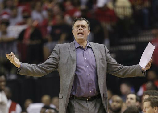 "<div class=""meta image-caption""><div class=""origin-logo origin-image none""><span>none</span></div><span class=""caption-text"">Houston Rockets coach Kevin McHale reacts to a foul called against the Rockets during Game 2 in an NBA first-round playoff series against the Dallas Mavericks, April 21, 2015. (AP Photo/ David J. Phillip)</span></div>"
