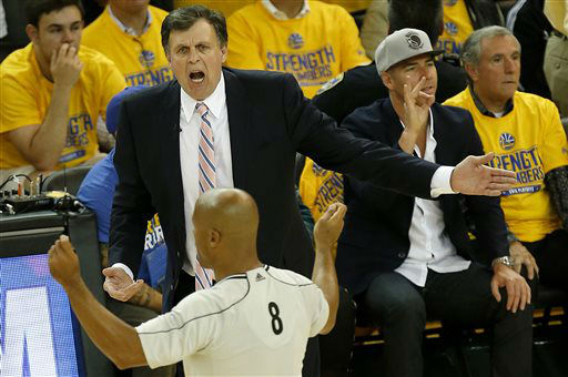 "<div class=""meta image-caption""><div class=""origin-logo origin-image none""><span>none</span></div><span class=""caption-text"">Rockets coach Kevin McHale, top, gestures as he talks with a referee during Game 1 of the NBA Western Conference finals against the Golden State Warriors, May 19, 2015. (AP Photo/ Tony Avelar)</span></div>"