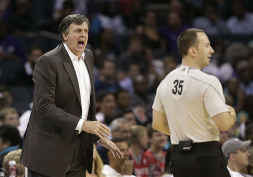 "<div class=""meta image-caption""><div class=""origin-logo origin-image none""><span>none</span></div><span class=""caption-text"">Houston Rockets coach Kevin McHale argues a call with referee Kane Fitzgerald during the Rockets' NBA game against the Charlotte Hornets, April 13, 2015. (AP Photo/ Chuck Burton)</span></div>"