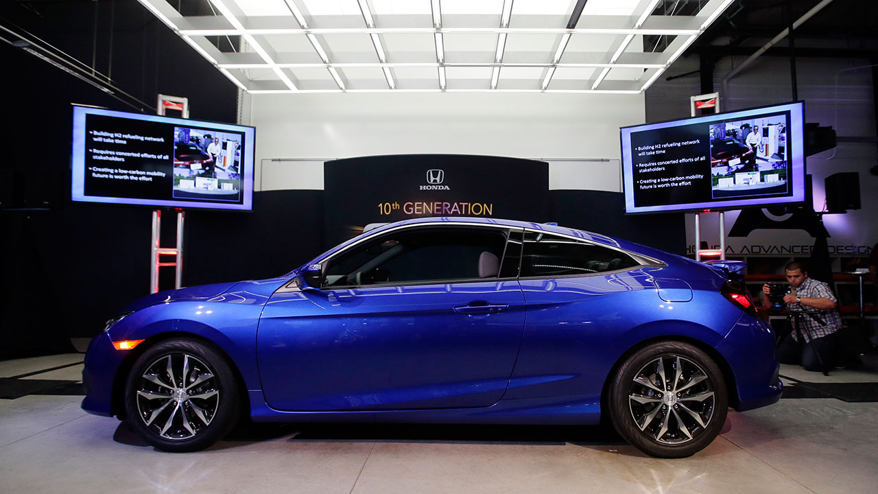The Honda Civic Coupe production model is shown at Honda's Advanced Design Studio as part of the Los Angeles Auto Show on Tuesday, Nov. 17, 2015, in Los Angeles.