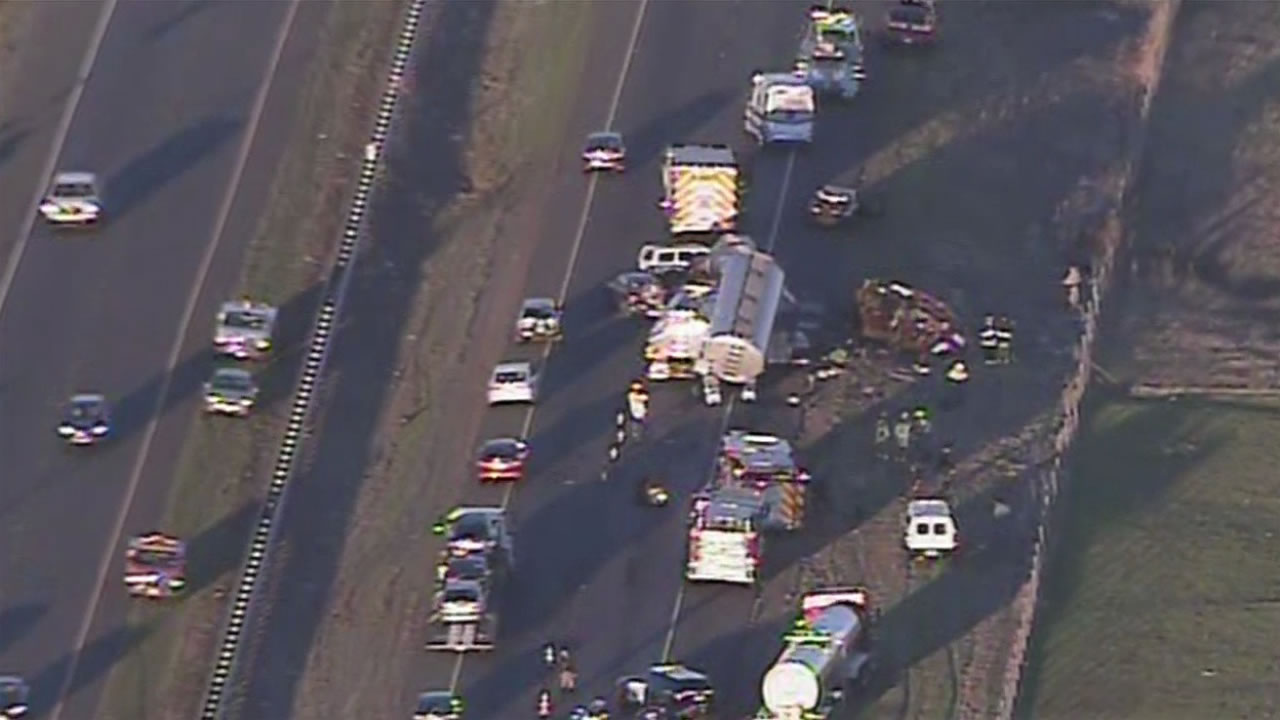 Sky7HD was over a fatal crash on Highway 37 near Highway 121 that blocked eastbound lanes, Nov. 18, 2015.