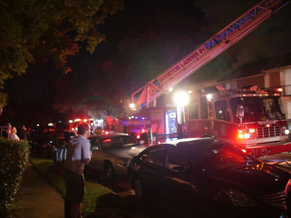 <div class='meta'><div class='origin-logo' data-origin='none'></div><span class='caption-text' data-credit=''>At least one person was taken to the hospital in a fire that broke out at a townhome complex in west Houston.</span></div>