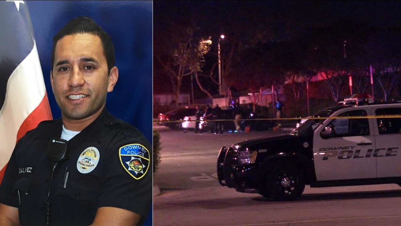 Downey police Officer Ricardo Galvez was fatally shot in the parking lot of the Downey Police Department in the 10900 block of Brookshire Avenue on Wednesday, Nov. 18, 2015.