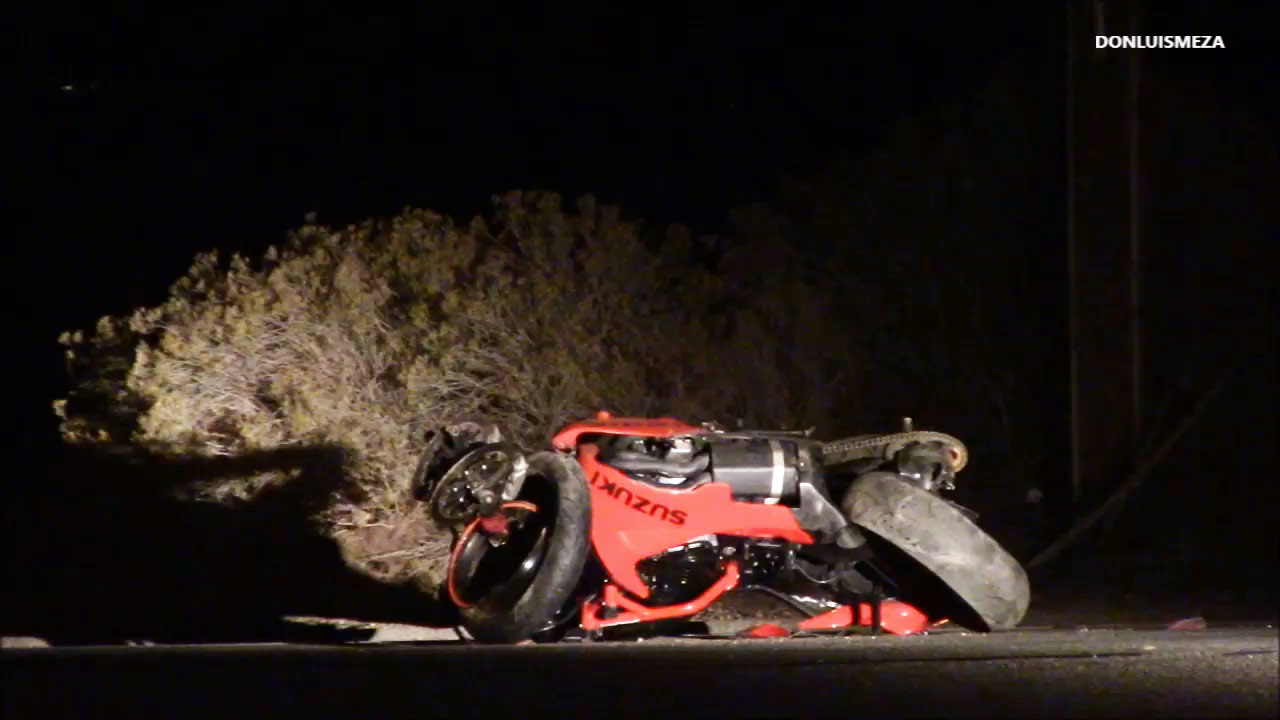 Three people riding two motorcycles were killed in a crash involving an SUV in Palmdale on Wednesday, Nov. 18, 2015.
