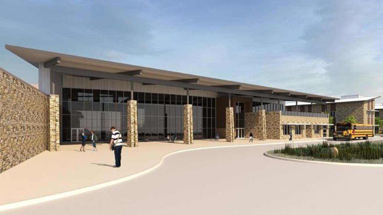 The rear-entry design for Montgomery ISD's second high school.