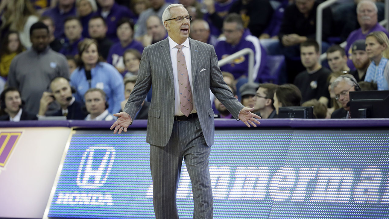 North Carolina head coach Roy Williams questions a call during the first half of an NCAA college basketball game against Northern Iowa