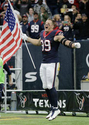 "<div class=""meta image-caption""><div class=""origin-logo origin-image none""><span>none</span></div><span class=""caption-text"">Houston Texans defensive end J.J. Watt (99) caries a United States flag onto the field (AP Photo/ David J. Phillip)</span></div>"