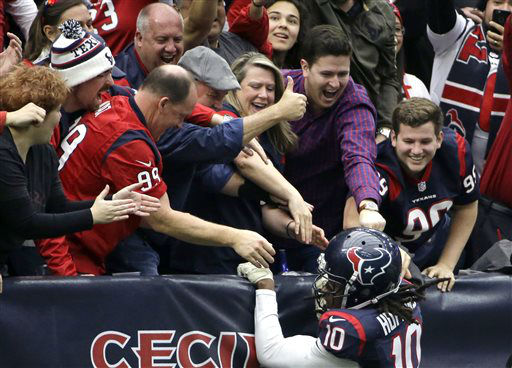 "<div class=""meta image-caption""><div class=""origin-logo origin-image none""><span>none</span></div><span class=""caption-text"">Houston Texans wide receiver DeAndre Hopkins (10) celebrates with fans after scoring a touchdown (AP Photo/ David J. Phillip)</span></div>"