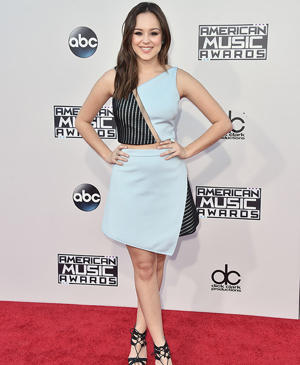 <div class='meta'><div class='origin-logo' data-origin='AP'></div><span class='caption-text' data-credit='Jordan Strauss/Invision/AP'>Hayley Orrantia arrives at the American Music Awards at the Microsoft Theater on Sunday, Nov. 22, 2015, in Los Angeles.</span></div>