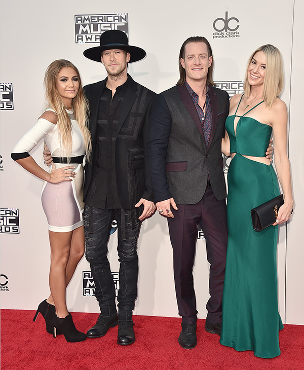 "<div class=""meta image-caption""><div class=""origin-logo origin-image ap""><span>AP</span></div><span class=""caption-text"">Brittney Marie Cole, from left, Brian Kelley and Tyler Hubbard from Florida Georgia Line, and Hayley Stommel arrive at the American Music Awards. (Jordan Strauss/Invision/AP)</span></div>"