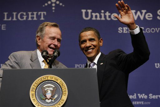 <div class='meta'><div class='origin-logo' data-origin='none'></div><span class='caption-text' data-credit='AP Photo/ Gerald Herbert'>President Barack Obama is introduced by former President George H.W. Bush at Texas A&M  University in College Station, Texas, Friday, Oct. 16, 2009.</span></div>