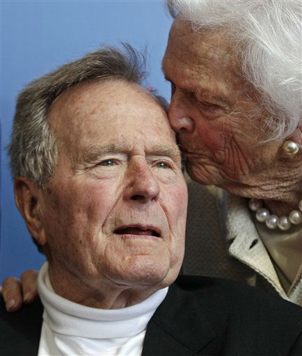 <div class='meta'><div class='origin-logo' data-origin='none'></div><span class='caption-text' data-credit='AP Photo/ Charles Krupa'>President George H.W. Bush, and his wife former first lady Barbara Bush, arrive for the premiere of HBO's new documentary on his life June 12, 2012.</span></div>