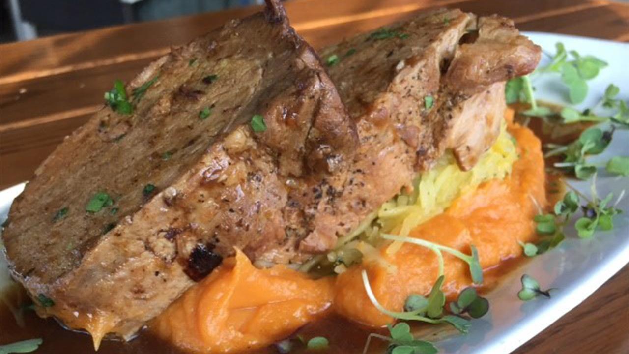 Union Kitchen's Cider Braised Pork Loin with Sweet Potato Puree