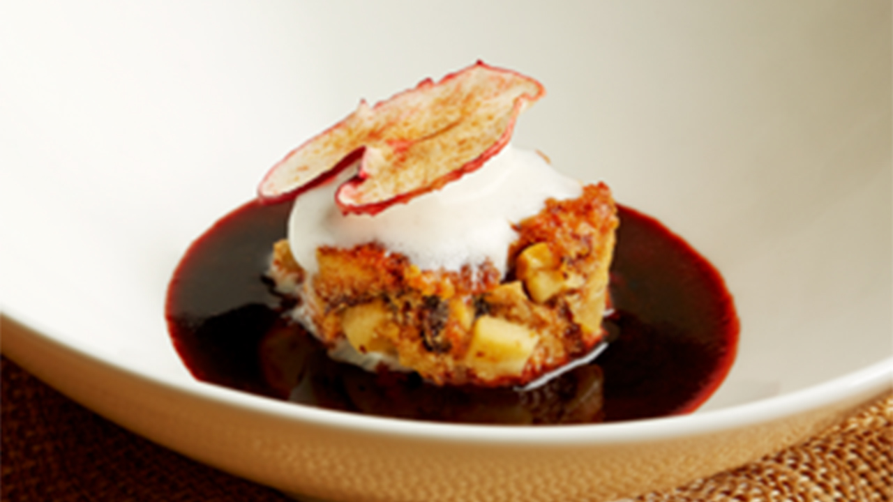 Luca Manfe's Apple Pandoro Bread Pudding