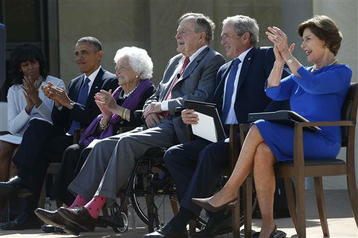 <div class='meta'><div class='origin-logo' data-origin='none'></div><span class='caption-text' data-credit='AP Photo/ Charles Dharapak'>The current and former presidents and first ladies take part in the dedication of the George W. Bush presidential library April 25, 2013.</span></div>