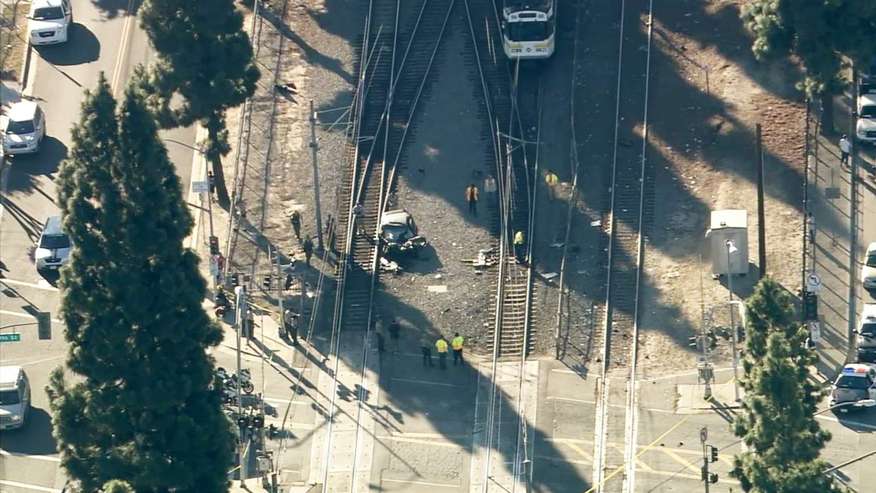 A Metro Blue Line train crashed with a car in Willowbrook on Monday, Nov. 23, 2015.