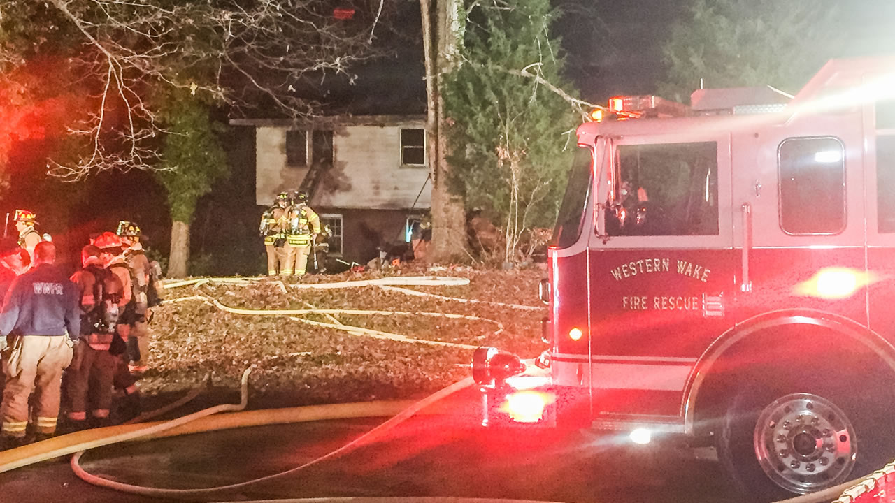 Western Wake Fire Rescue takes on a blaze on Electra Drive.