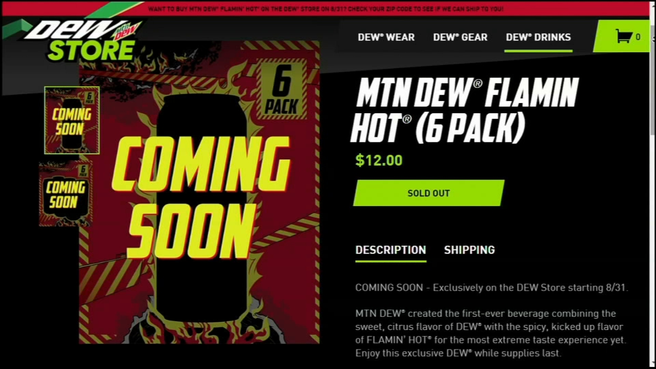 This undated image shows the website promoting Flamin' Hot Mountain Dew.