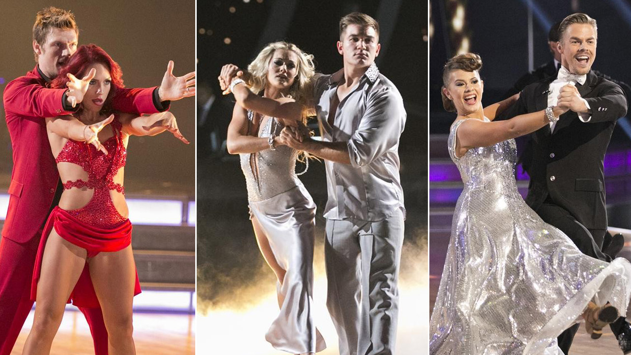 Nick Carter, Alek Skarlatos, and Bindi Irwin are shwon along with their pro partners Sharna Burgess, Lindsay Arnold and Derek Hough.