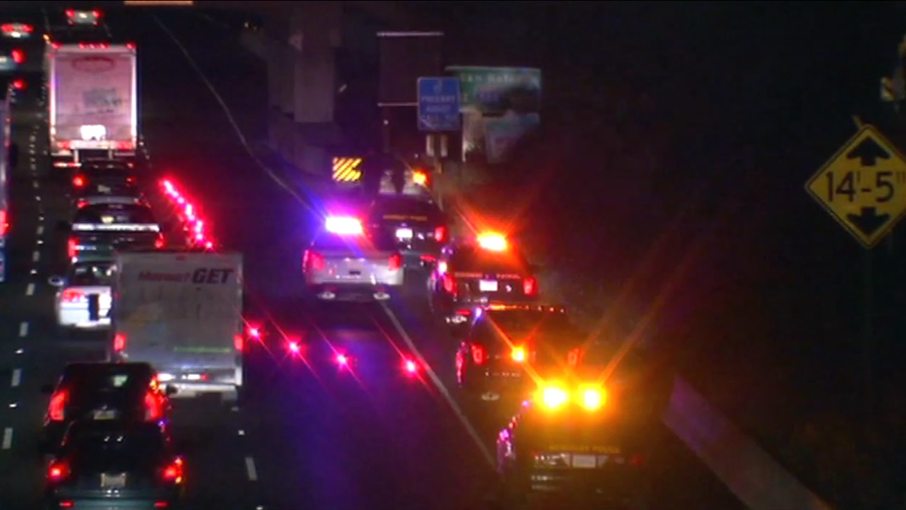 In this image, traffic is seen following a shooting on Interstate 80 in Berkeley, Calif. on Tuesday, November 24, 2015.