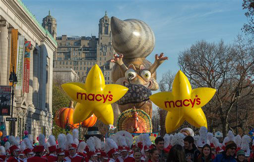 <div class='meta'><div class='origin-logo' data-origin='none'></div><span class='caption-text' data-credit='AP Photo/ Bryan R. Smith'>Performers stand in front of balloons at the start of the Macy's Thanksgiving Day Parade, Thursday Nov. 26, 2015, in New York.  (AP Photo/Bryan R. Smith)</span></div>