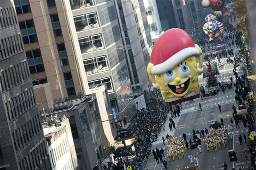 <div class='meta'><div class='origin-logo' data-origin='none'></div><span class='caption-text' data-credit='Photo/Ben Hider'>The Sponge Bob Square Pants balloon goes down 6th Avenue for the 89th annual Macy's Thanksgiving Day Parade. (Photo by Ben Hider/Invision/AP)</span></div>